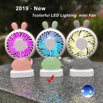 Portable Mini USB Rechargeable LingLong Rabbit and Damo Bear  Handheld Fan 7 Colorful LED Light 2 Speeds Adjustable Strong Wind แบบพกพา mini USB ชาร์จ Linglong กระต่ายและหมี Damo มือถือพัดลม 7 สีสัน LED แสงความเร็วลม ปรับ-