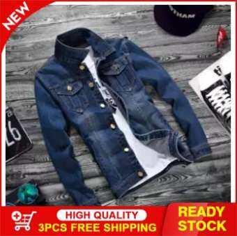 Outlet Fashion lapel men's denim jacket-Dark blue