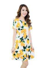 ราคา Fashionstory เดรสชายระบายผ้ายืดนิ่มเด้งลายส้ม สีครีม เป็นต้นฉบับ