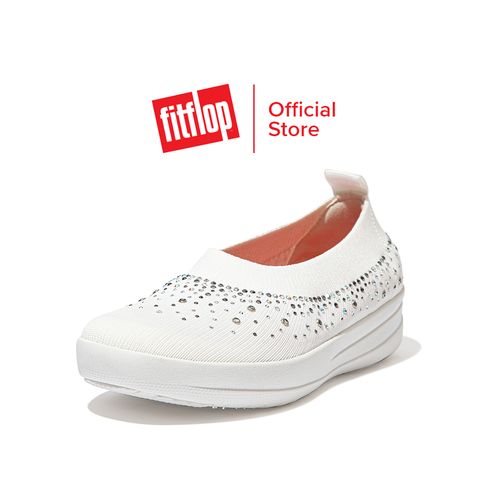 Fitflop รองเท้าสวมส้นแบนผู้หญิง Uberknit Ombre Crystal รุ่น Dv4 รองเท้าผู้หญิง.