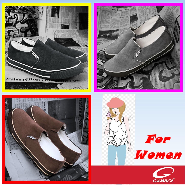 รองเท้าผ้าใบ Gambol ผู้หญิง,รองเท้าสลิปออน, Slip On,รองเท้าผ้าใบหุ้มส้น,รองเท้าผ้าใบแกมโบล,gambol 82103.