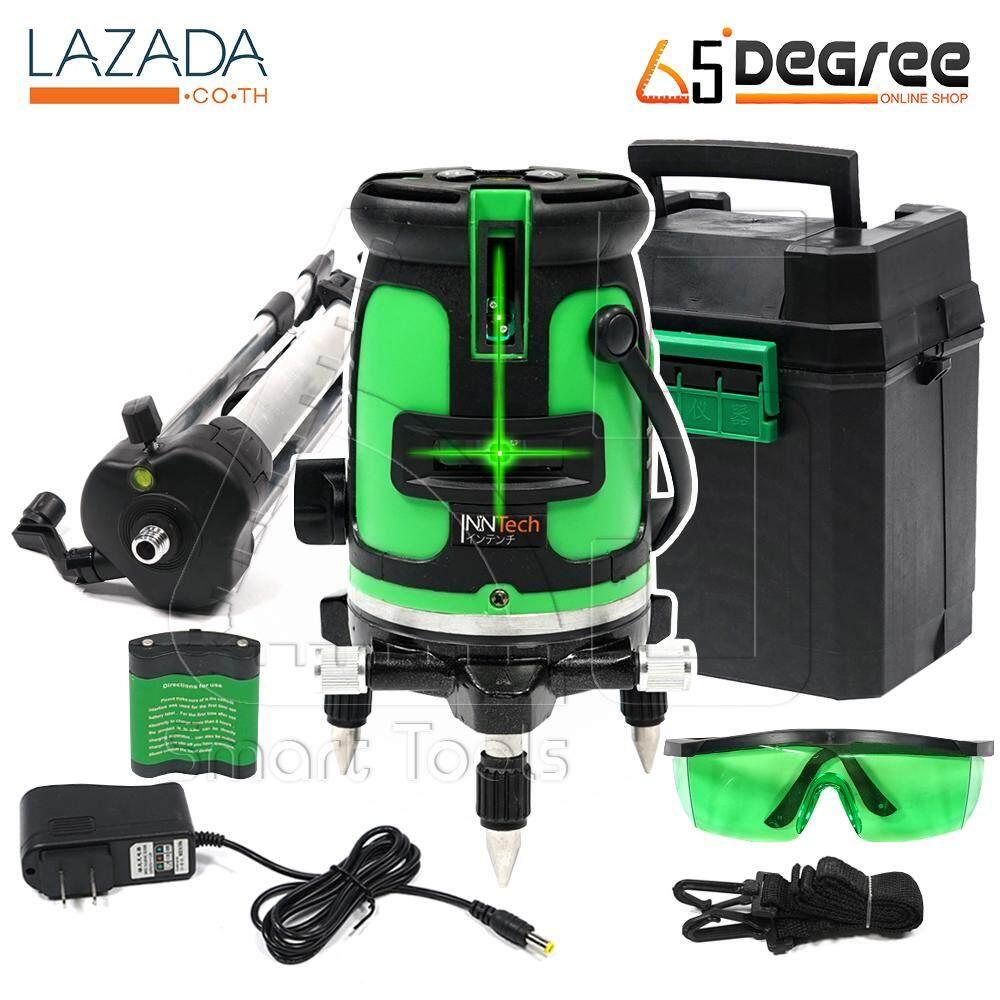 InnTech เครื่องวัดระดับเลเซอร์ ระดับน้ำเลเซอร์ 5 เส้น 360 องศา เลเซอร์สีเขียว 5 Lines Green Laser Level เลเซอร์ เลเซอร์วัดระดับ วัดได้ทั้งกลางแจ้ง-ที่มืด พร้อมกล่องเก็บอุปกรณ์ แถมฟรี! ขาตั้งวัดระดับ มูลค่า 590 บาท