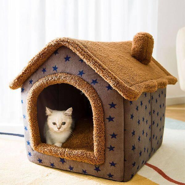 BGBUL Ấm áp Có thể gập lại Mùa đông ấm áp Mèo con Teddy Trong nhà dành cho mèo con chó nhỏ Cũi Giường cho mèo Nhà cho chó Đồ dùng cho thú cưng