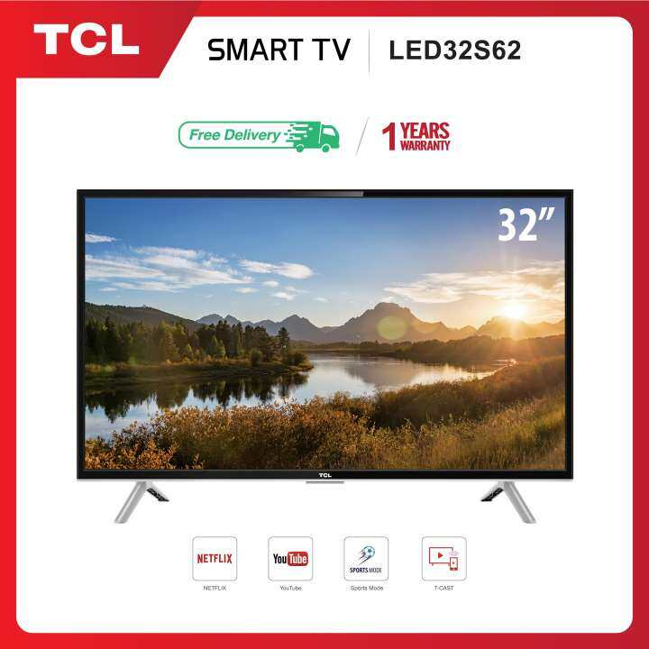 TCL ทีวี 32 นิ้ว LED HD 720P Wifi internet Smart TV (รุ่น 32S62) -HDMI-USB-Net.flix &Youtube สมาร์ทีวี
