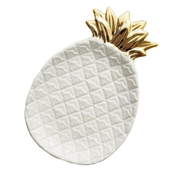 Pineapple Ceramic Storage Tray Pineapple Jewelry Pallet Food Pallet Dry Fruit Plate Home Decoration Plate white