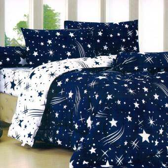 FD Premium ผ้าปูที่นอน 3.5ฟุต 3ชิ้น  รุ่น 3AA077 ลายดาว (สีน้ำเงิน)