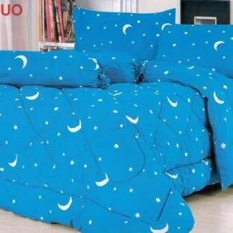 FD Premium  ผ้าปูที่นอน 5 ฟุต 5 ชิ้น  รุ่น 5AA0111  ลายดาว (สี ฟ้า)(Blue)-