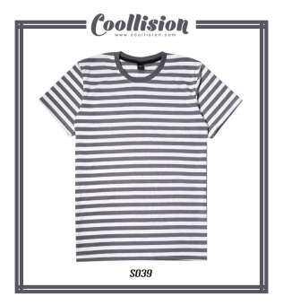 Coollision เสื้อยืดลายทาง ขาวเทา ริ้ว 1 ซม.