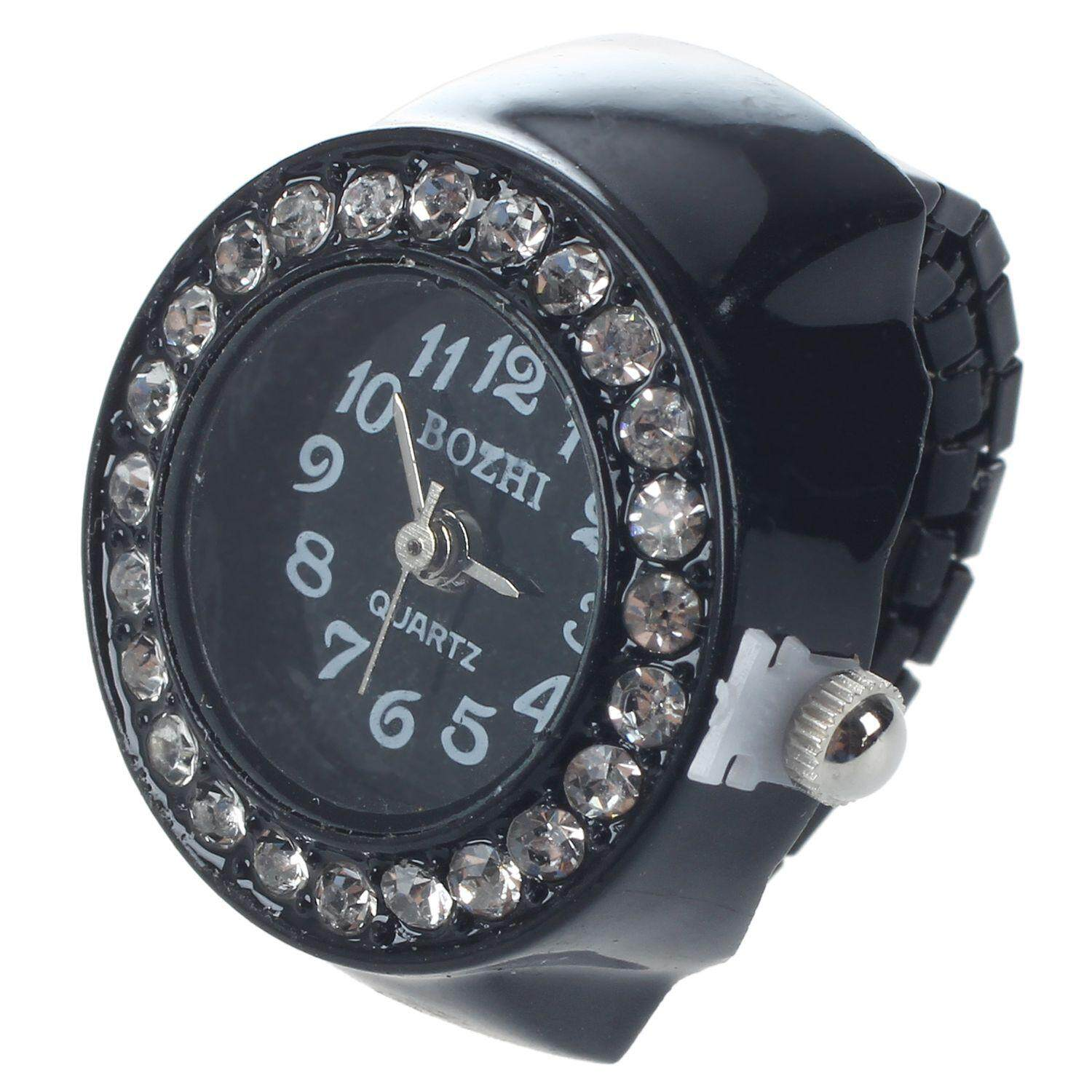 Ladies Elastic Black Band Rhinestone Case Finger Ring Watch Malaysia