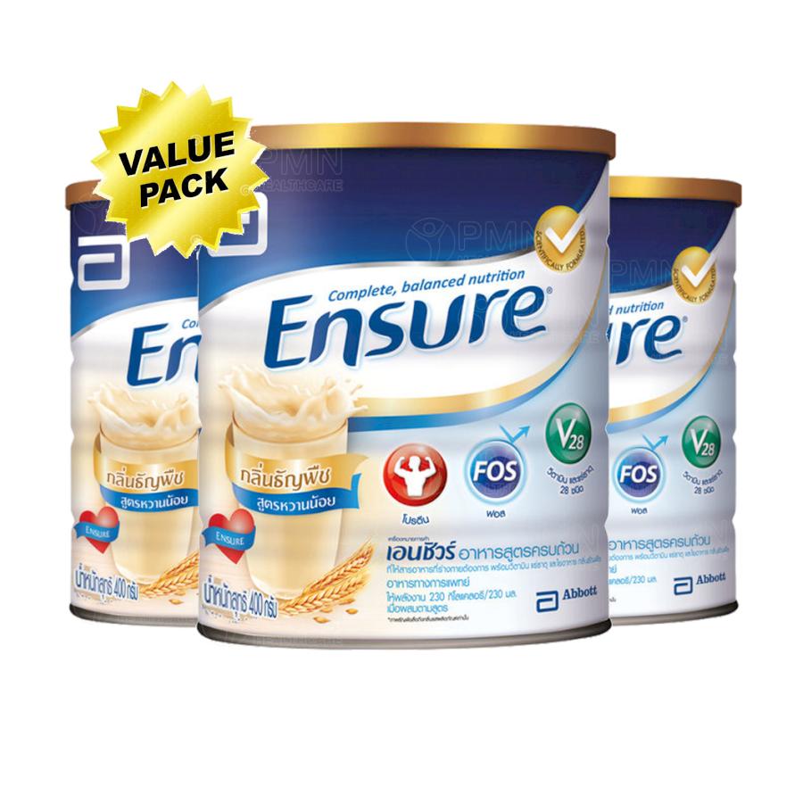 ซื้อที่ไหน Ensure Wheat Low Sugar Powd 3x400g เอนชัวร์ วีท กลิ่นธัญพืช สูตรหวานน้อย 3x400 กรัม อาหารสูตรครบถ้วน (Value Pack)
