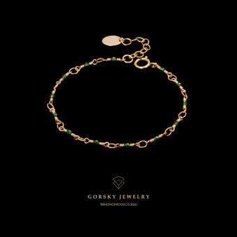 GORSKY สีเขียวคริสตัล 14 K ประเป๋าสีทองปรับสร้อยข้อมือหญิงเรียบง่าย INS เย็นชาลมโบฮีเมียสาวโมริเครื่องประดับ
