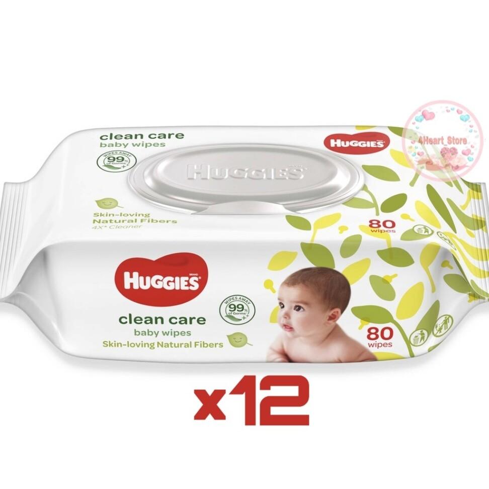 โปรโมชั่น แพค 12 ห่อ × 80 แผ่น ทิชชู่เปียกฮักกี้ Huggies baby wipes clean care แพคเกจใหม่