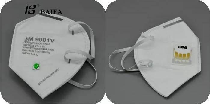 Baifa Shop No.n02 หน้ากาก 3m N95 รุ่น 9001v หน้ากากป้องกันฝุ่น 2.5pm กรองฝุ่นขนาดเล็ก 0.3 ไมครอน ชนิดมีวาล์ว หายใจสะดวก(แพ็ค5ชิ้น) By Baifashop.