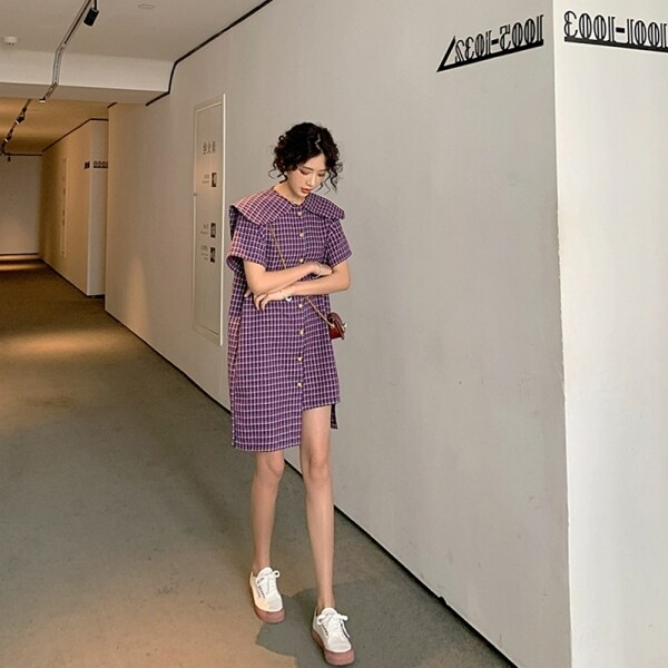 Kiểu Pháp Phong Cách Retro Sọc Caro Đầm Nữ Mùa Hè Khí Chất Áo Dạ Ngắn Cổ Búp Bê Trí Tuệ Hun Khói JIEGENG HOME Áo Sơ Mi Váy