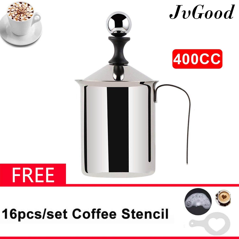 Jvgood ถ้วยปั๊มฟองนม ขนาด 800ml ถ้วยตีฟองนม เครื่องทำฟองนม ที่ตีฟองนม Milk Frother Coffee Foamer Creamer (ขนาด 800ml. สามารถตีฟองนมได้ครั้งละ 400ml.) Manual Milk Frother Foamer Stainless Steel By Jvgood.