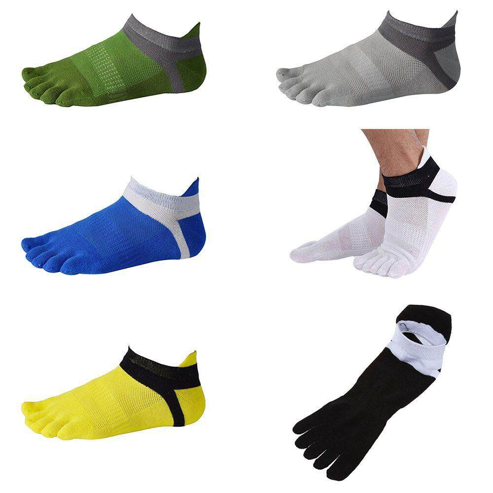 f5412e4bb 4 pair Toe socks No Show Five Finger Socks Cotton Athletic Running Socks  For Men white