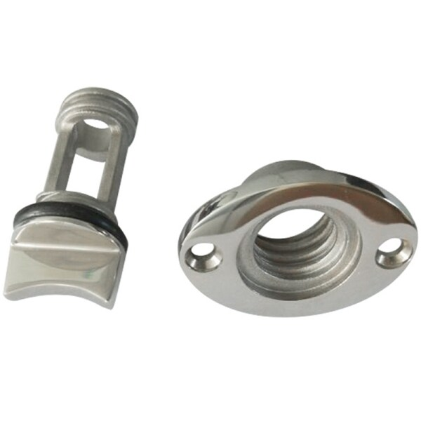 Marine Boat Surface Polishing Oval Garboard Drain Plug Fits Hole Screw Thread Corrosion Resistant 316 Stainless Steel