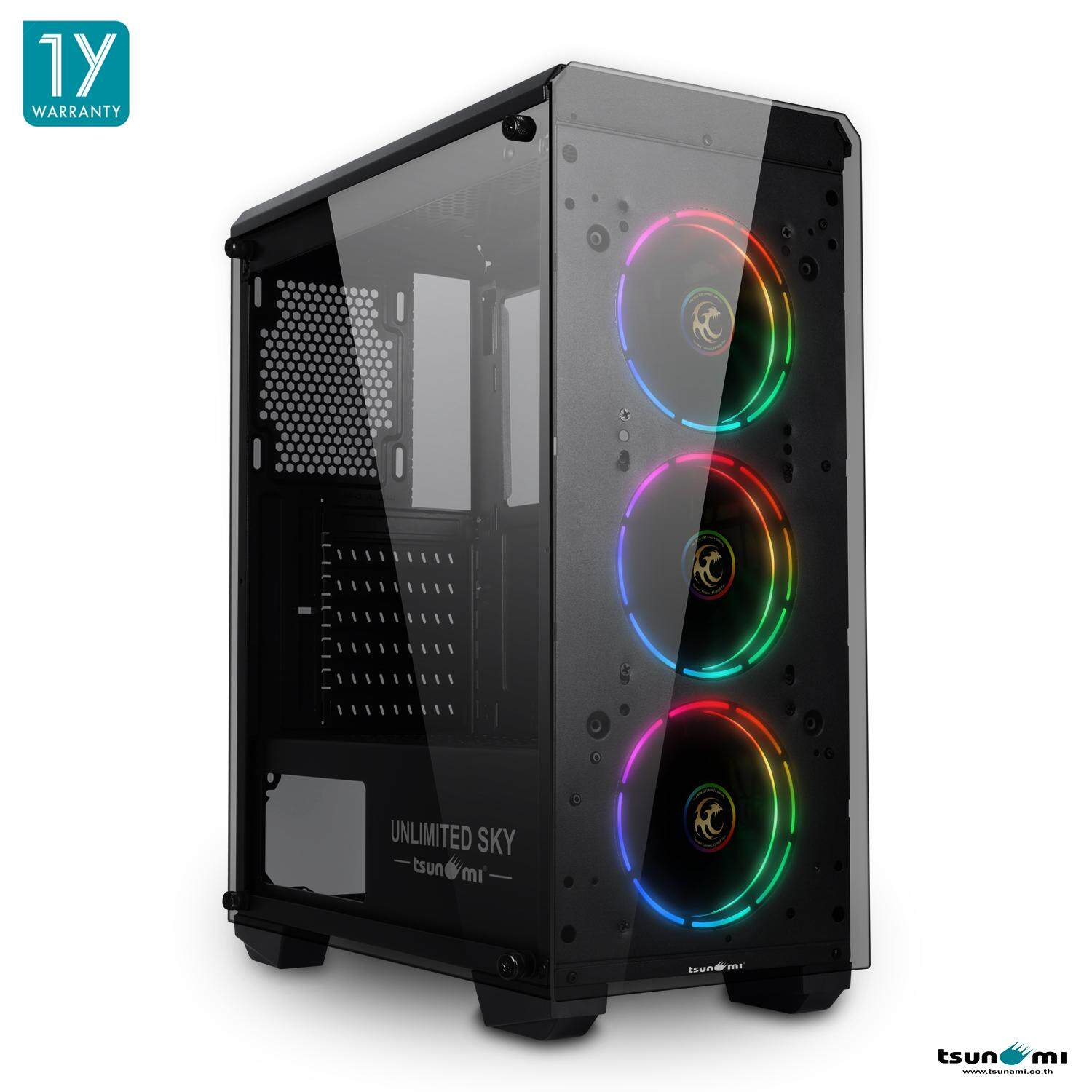 Tsunami Unlimited Sky+ Tempered Glass Super Atx Gaming Case + Tsunami Tron (crgb Sync) 12cm Rgb Cooling Fan X 3 By Fun Republic Co.,ltd..
