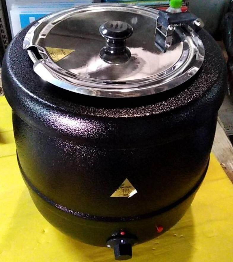 หม้ออุ่นซุปไฟฟ้าสีดำ 10 ลิตร หม้ออุ่นข้าวต้ม Soup Kettle.