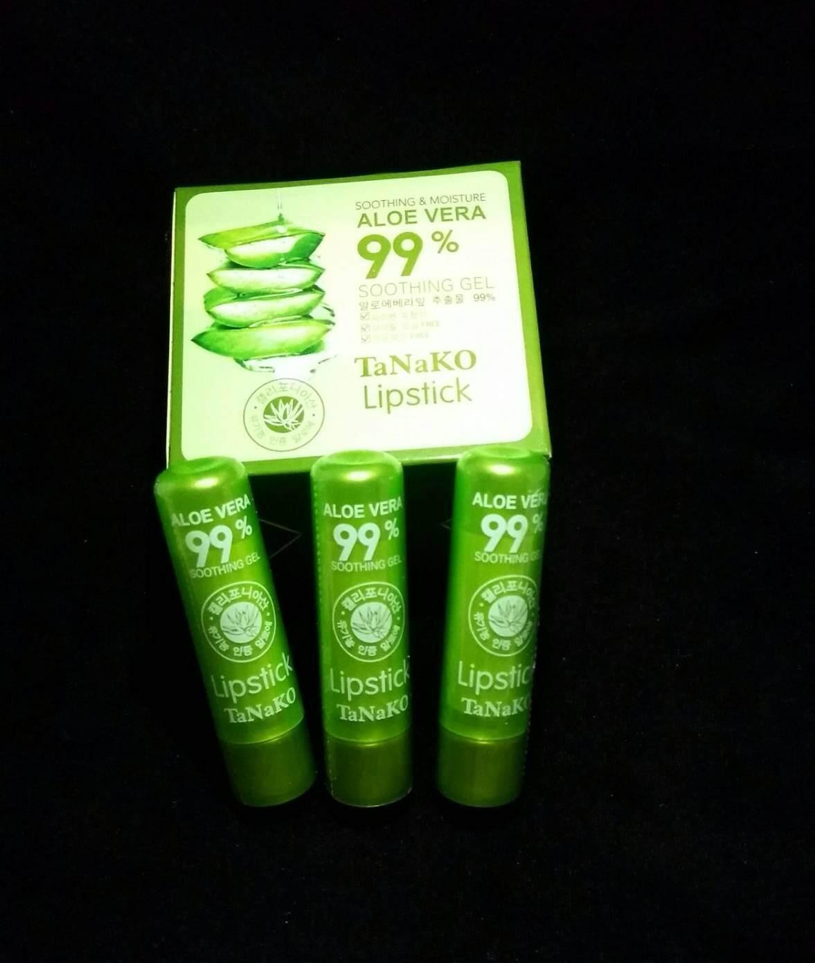 ( 3 แท่ง) ลิปว่าน ลิปว่านหางจระเข้ 99% ลิปเปลี่ยนสีชมพู Tanako Aloe Vera Soothing gel aloe vera 99%