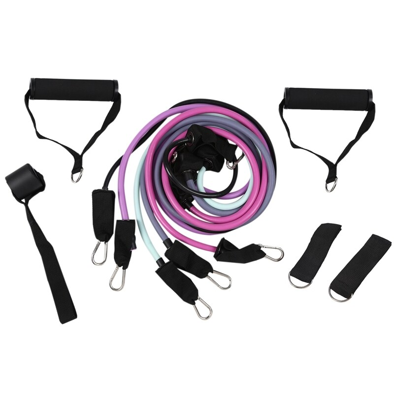 11 Pcs Fitness Resistance Bands Set Exercise Tubes Rubber Band Great for Resistance Training Workout Yoga Pilates