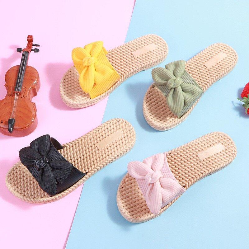 รองเท้าเเตะยาง กลีบโบว์ สวยใส น่ารักมาก เบา นิ่ม.