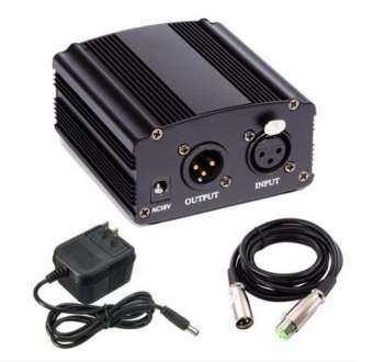 แหล่งจ่ายไฟ 48V Phantom Power + สายสัญญาณ Cable For Condenser Microphone ไมค์อัดเสียง ไมค์โครโฟน