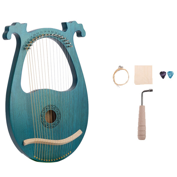Lyre Harp, 16 String Mahogany Body String Instrument Body Instrument with Tuning Wrench and Spare Strings