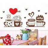 ราคา Flowerpots Cute Coffee Cup Love Heart Shape Wall Sticker Decal Wallpaper Pvc Mural Art Home Picture Wall Paper For House Room Decoration ใหม่