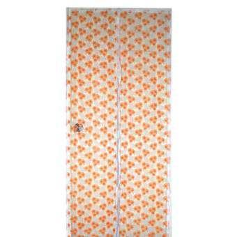 Fortunestar ม่านประตูแม่เหล็กกันยุงแบบพิมพ์ลายกากเพชรดอกไม้ส้ม