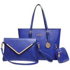 Ftshop กระเป๋าเซ็ต3ใบ กระเป๋าแฟชั่นเกาหลี กระเป๋าสตางค์ผู้หญิง กระเป๋าสะพายข้าง กระเป๋าพวงกุญแจ รุ่น 122 สีน้ำเงิน เป็นต้นฉบับ