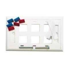 FibreConneX หน้ากากพลาสติก 6 ช่อง w/Icon & Labels รุ่น FXC-FP-US6-30  30 ชิ้น (สีขาว)