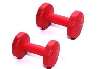 G sport DUMBELL ดัมเบลพลาสติกชนิดเหลี่ยมน้ำหนัก1kg รุ่น LU-1 แพ็คคู่(สีแดง)