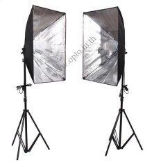 ขาย ซื้อ ออนไลน์ G1Dual Light Stand Lg 190 G801C Softbox E27 50X70Cm Free 135W 5500K Day Light ชุดไฟต่อเนื่อง
