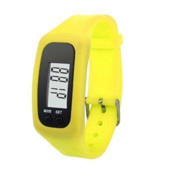 G2G นาฬิกาดิจิตอลสายรัดข้อมือหน้าจอ LCD สำหรับใส่วิ่งหรือเดิน สีเหลือง