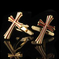 โปรโมชั่น Gadgetz Cuff Links ไม้กางเขนทองสลับแดง รุ่น I1601 Gadgetz