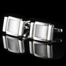 Gadgetz Cuff Links พลอยขาว สี่เหลี่ยมเงินล้อม รุ่น I901 ถูก