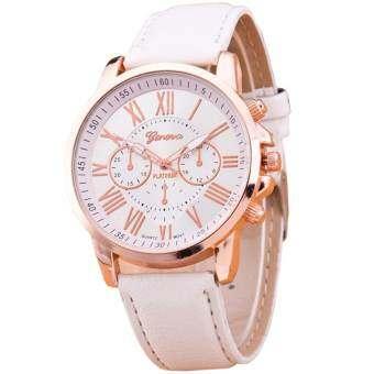 GENEVA Women Watch นาฬิกาข้อมือผู้หญิง สายหนัง รุ่น WATCH X003 - White-