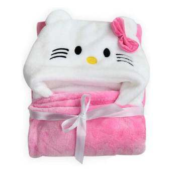 Getagift ผ้าห่ม ผ้าห่อตัวทารก ผ้าห่อตัวเด็ก พร้อมหมวกรูปแมวการ์ตูน (สีชมพู)-