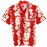 ขาย Hawaiian Shirt เสื้อเชิ้ตฮาวาย Big Plumeria Frangipani Stripe Beach รุ่น Hw260R Red ออนไลน์ กรุงเทพมหานคร