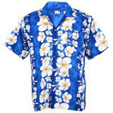 ราคา Hawaiian Shirt เสื้อเชิ้ตฮาวาย Big Plumeria Frangipani Stripe Beach รุ่น Hw260S Blue Unbranded Generic ออนไลน์