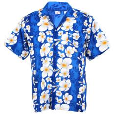 Hawaiian Shirt เสื้อเชิ้ตฮาวาย Big Plumeria Frangipani Stripe Beach รุ่น Hw260S Blue กรุงเทพมหานคร