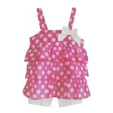 Healthtex ชุดเด็กผู้หญิง เสื้อสายเดี่ยวสีชมพู ลายจุดขาว พร้อมกางเกงผ้า Cotton ผสม Spandex ใน กรุงเทพมหานคร