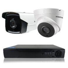 Hikvision ชุดกล้องวงจรปิดกล้อง 4Ch Cctv 2ตัว ทรงกระบอก และโดม 1 0Mp 720P Hd และอนาล็อก เครื่องบันทึก4ช่อง กรุงเทพมหานคร