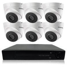 Hikvision ชุดกล้องวงจรปิดกล้อง 8CH CCTV 6ตัว โดม  2.0MP 1080p HD  และอนาล็อก เครื่องบันทึก 8 ช่อง