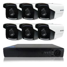 Hikvision ชุดกล้องวงจรปิดกล้อง 8CH CCTV 6ตัว ทรงกระบอก  1.0MP 720p HD  และอนาล็อก เครื่องบันทึก 8 ช่อง
