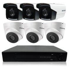Hikvision ชุดกล้องวงจรปิดกล้อง 8CH CCTV 6ตัว ทรงกระบอก และโดม  2.0MP 1080p HD  และอนาล็อก เครื่องบันทึก 8 ช่อง