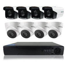 Hikvision ชุดกล้องวงจรปิดกล้อง 8CH CCTV 8ตัว ทรงกระบอก และโดม  1.0MP 720p HD  และอนาล็อก เครื่องบันทึก 8 ช่อง