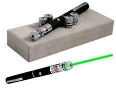Hitech Green Laser pointer ปากกาเลเซอร์ หัวต่อปรับแสง 5 หัว (Black)