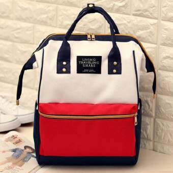 HM กระเป๋าเป้สะพายหลัง กระเป๋าแฟชั่นทรงAnello รุ่น034 (สีขาวแดง)  -